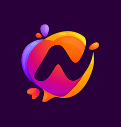 N letter at colorful speech bubble and heart vector