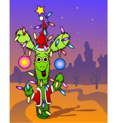 New years cactus vector