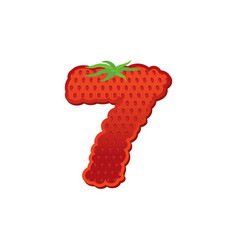 Number 7 strawberry font red berry lettering vector