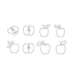 One line art style apple abstract creative food vector