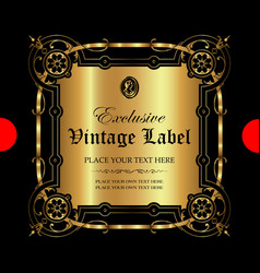ornamental gold label - luxury style vector image