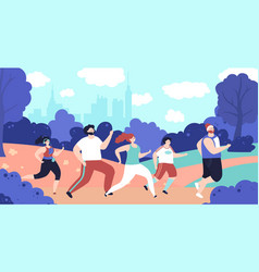 outdoor jogging characters person running park vector image