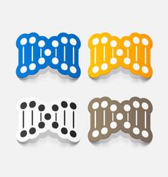 Paper sticker molecule and dna set for biology vector