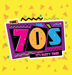 party time 70 s style label vector image