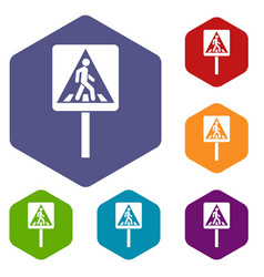 pedestrian sign icons set vector image