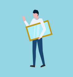 person carrying frame with transparent glass vector image