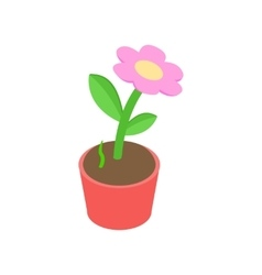 Pink flower in a pot icon isometric 3d style vector image
