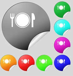 Plate icon sign Set of eight multi colored round vector
