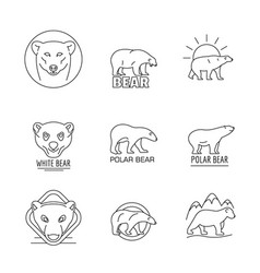 polar bear baby white icons set outline style vector image
