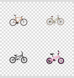 Realistic extreme biking timbered childlike and vector