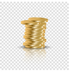 Realistic gold coins stack on transparent backdrop vector