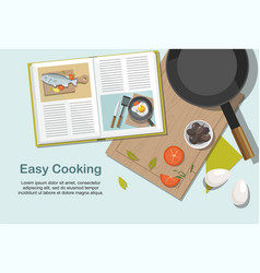 recipe book frying pan and food top view vector image