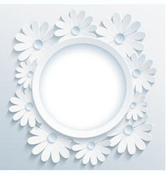 Round grey frame with 3d white chamomile vector image