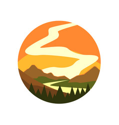 Round-shaped emblem of landscape with beautiful vector