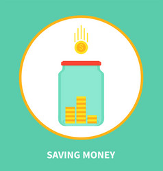 saving money cartoon banner with holding box icon vector image