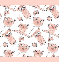seamless pattern with cute piglets endless vector image