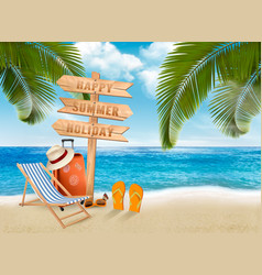 Seaside vacation travel items on the beach vector