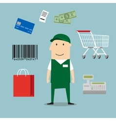 Seller man and retail industry icons vector