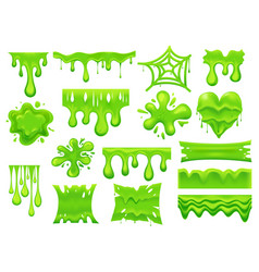 Set isolated green slime drip or spooky blob vector