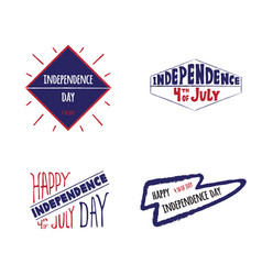 set label independence day vector image