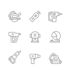 set line icons power tool vector image