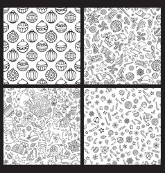 Set of doodles merry christmas seamless patterns vector