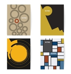 Set of four retro brochures print template in a vector image