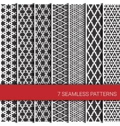 set seven geometric patterns grey and white vector image