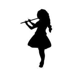 Silhouette girl music playing flute vector