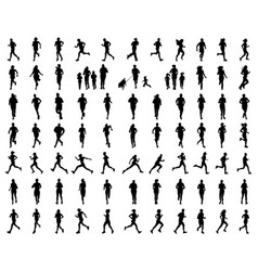 silhouettes people running vector image