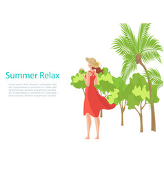 summer banner with relaxing girl on beach vector image