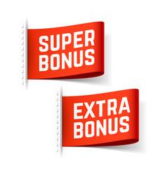 Super and extra bonus labels vector