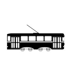 train or tram black white vector image
