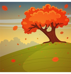 Tree on the hill vector image