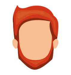 white background of faceless man with red hair and vector image