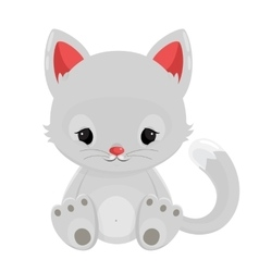 White cat isolated on white background vector