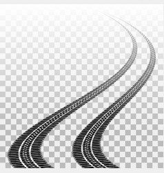 winding tire tracks on transparent vector image