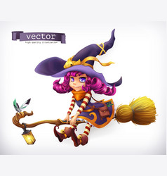 Witch happy halloween 3d icon vector