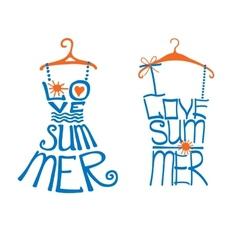Woman dressshirt in words love SummerTypography vector
