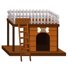 Wooden doghouse with ladder vector