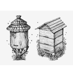 Wooden hives Hand drawn sketch beekeeping honey vector