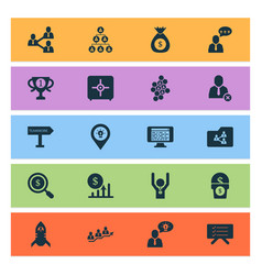 Work icons set with shared folder online team vector