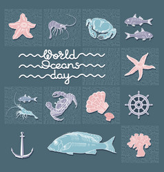 World ocean day card abstract poster wit vector
