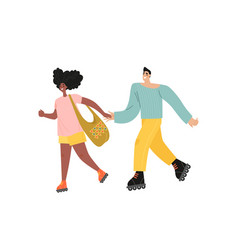 Young couple is rollerblading isolated vector