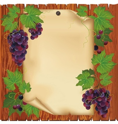 Background with grape and paper on wooden board vector image vector image