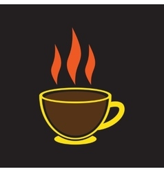 Modern flat icon with Black background Indian tea vector image vector image
