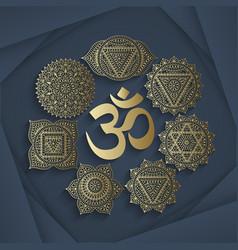 Set of seven chakras and symbol OM vector image