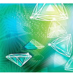 Abstract green background with linear diamonds vector image vector image