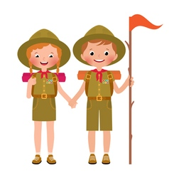 children boy and girl scout vector image vector image