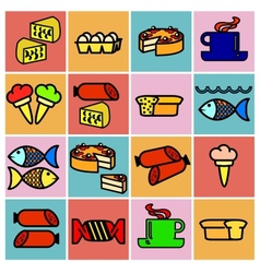 Collection flat icons Food symbols vector image